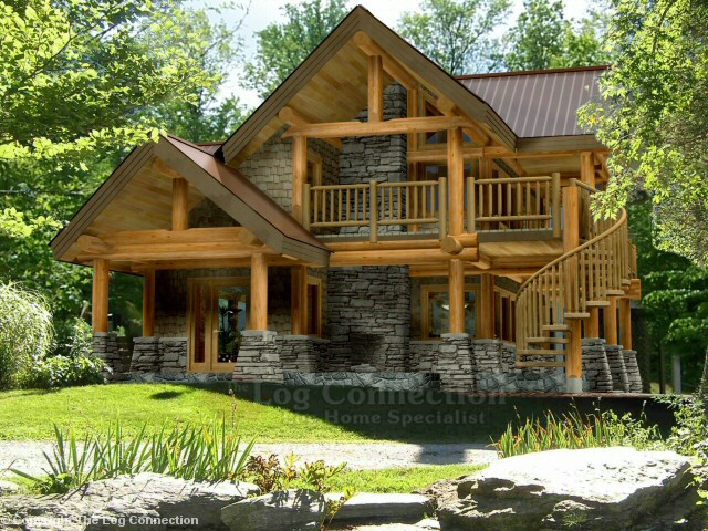 Astoria log home design by the log connection for Wooden home plans
