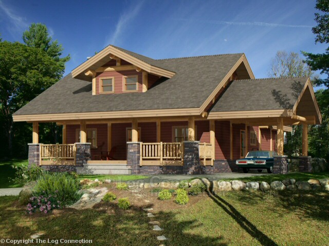 Saginaw log home design by the log connection for Craftsman style log homes