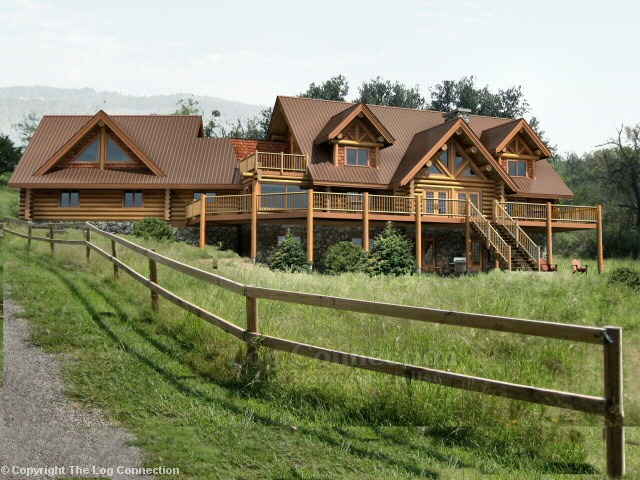 Texas ranch log home design by the log connection for Ranch style log home designs